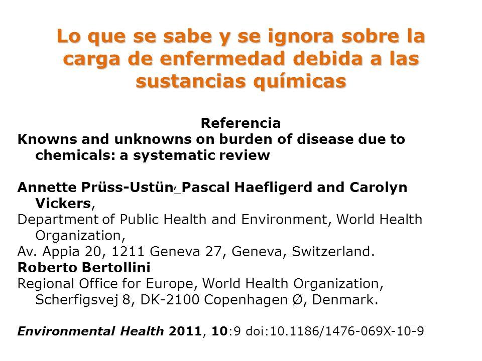 Lo que se sabe y se ignora sobre la carga de enfermedad debida a las sustancias químicas