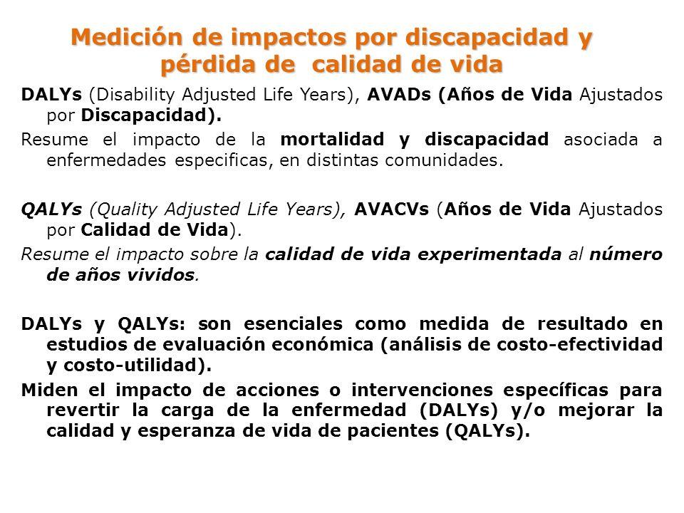 Medición de impactos por discapacidad y pérdida de calidad de vida