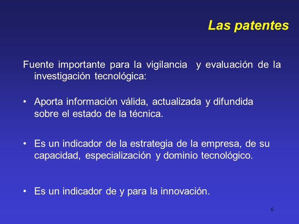 Las patentes Fuente importante para la vigilancia y evaluación de la investigación tecnológica: