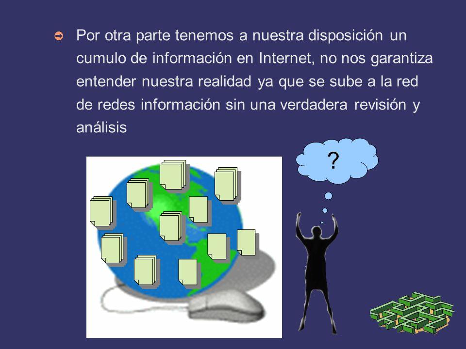 Por otra parte tenemos a nuestra disposición un cumulo de información en Internet, no nos garantiza entender nuestra realidad ya que se sube a la red de redes información sin una verdadera revisión y análisis