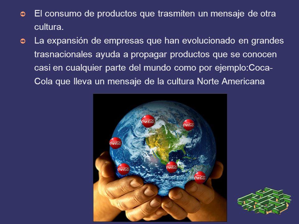 El consumo de productos que trasmiten un mensaje de otra cultura.