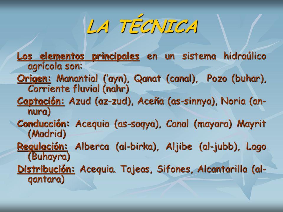 LA TÉCNICALos elementos principales en un sistema hidraúlico agrícola son: