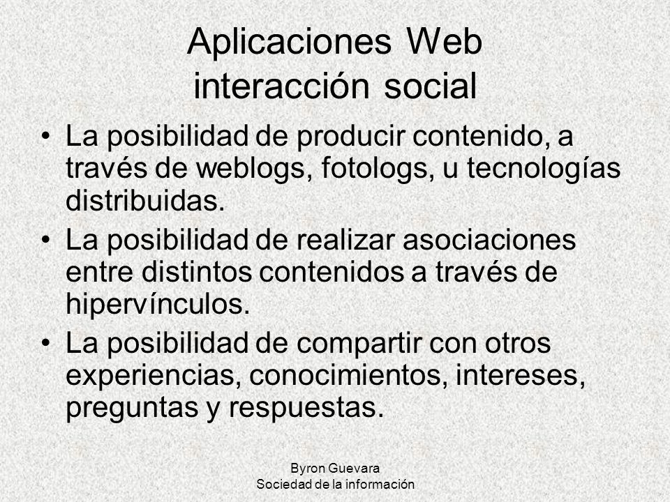 Aplicaciones Web interacción social