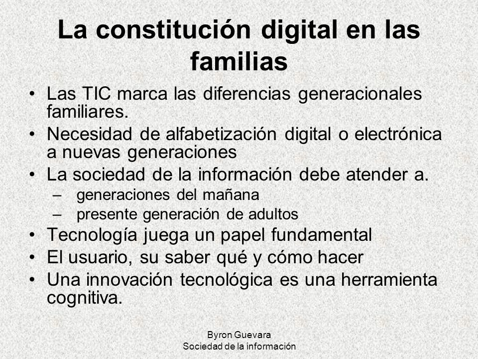 La constitución digital en las familias