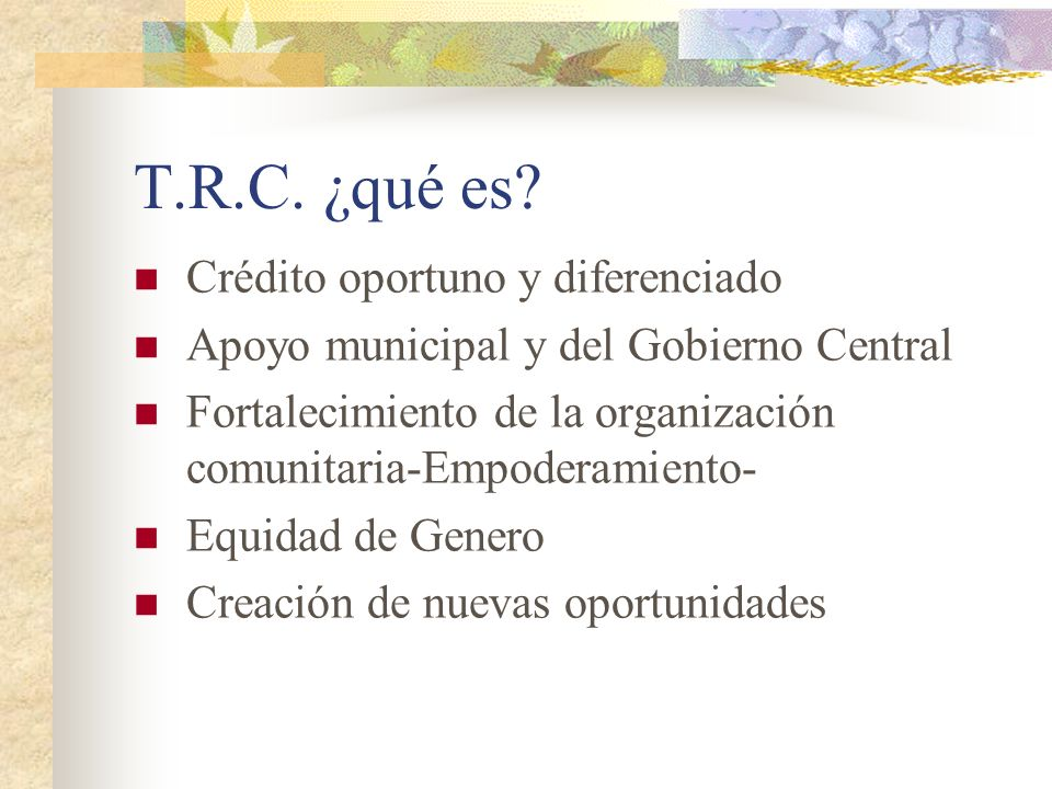 T.R.C. ¿qué es Crédito oportuno y diferenciado