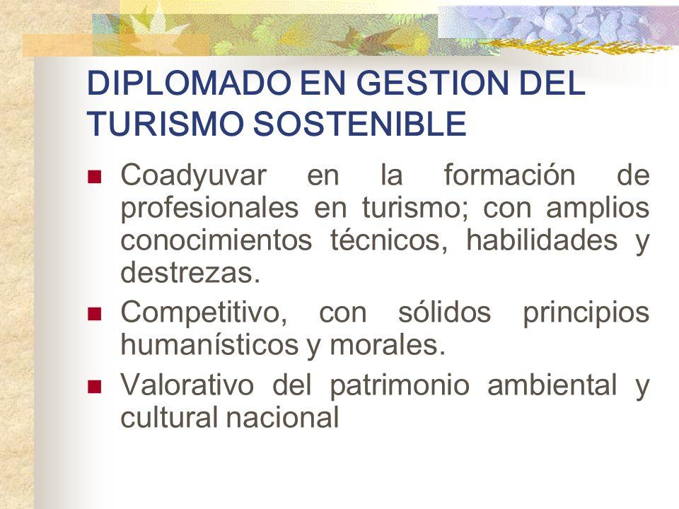 DIPLOMADO EN GESTION DEL TURISMO SOSTENIBLE