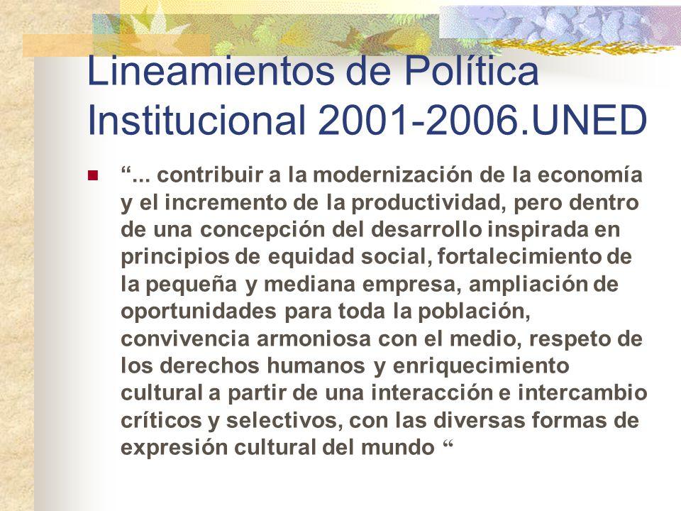 Lineamientos de Política Institucional 2001-2006.UNED