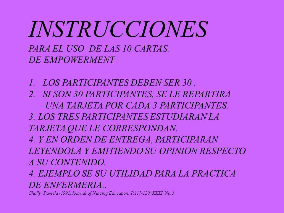 INSTRUCCIONES PARA EL USO DE LAS 10 CARTAS. DE EMPOWERMENT
