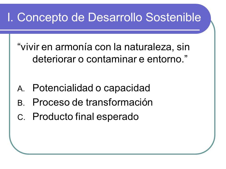 I. Concepto de Desarrollo Sostenible
