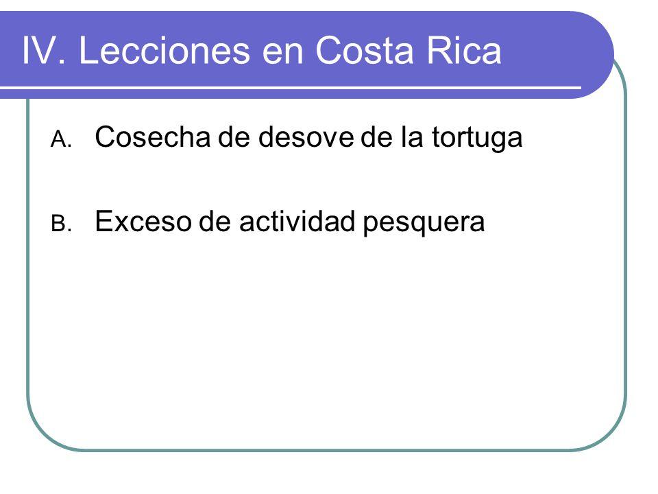 IV. Lecciones en Costa Rica