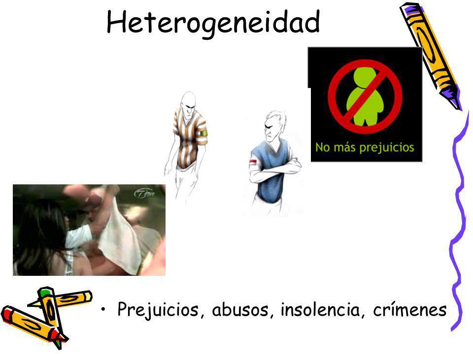 Heterogeneidad Prejuicios, abusos, insolencia, crímenes