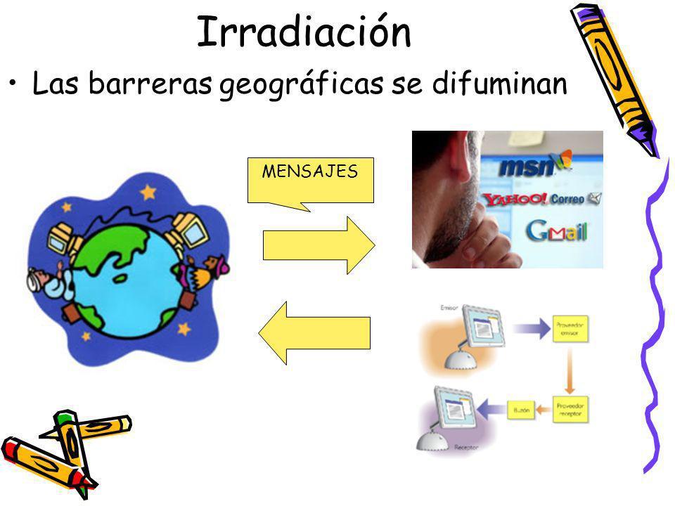 Irradiación Las barreras geográficas se difuminan MENSAJES