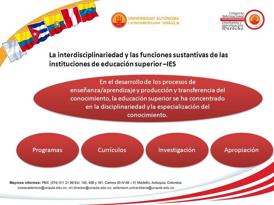 La interdisciplinariedad y las funciones sustantivas de las instituciones de educación superior –IES