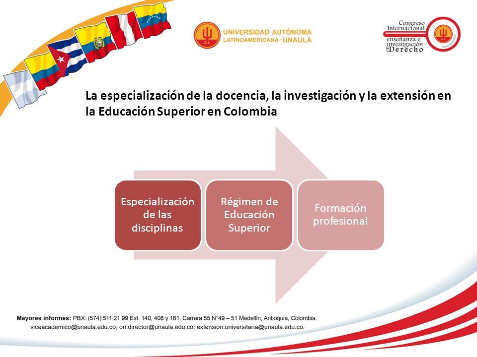 La especialización de la docencia, la investigación y la extensión en la Educación Superior en Colombia