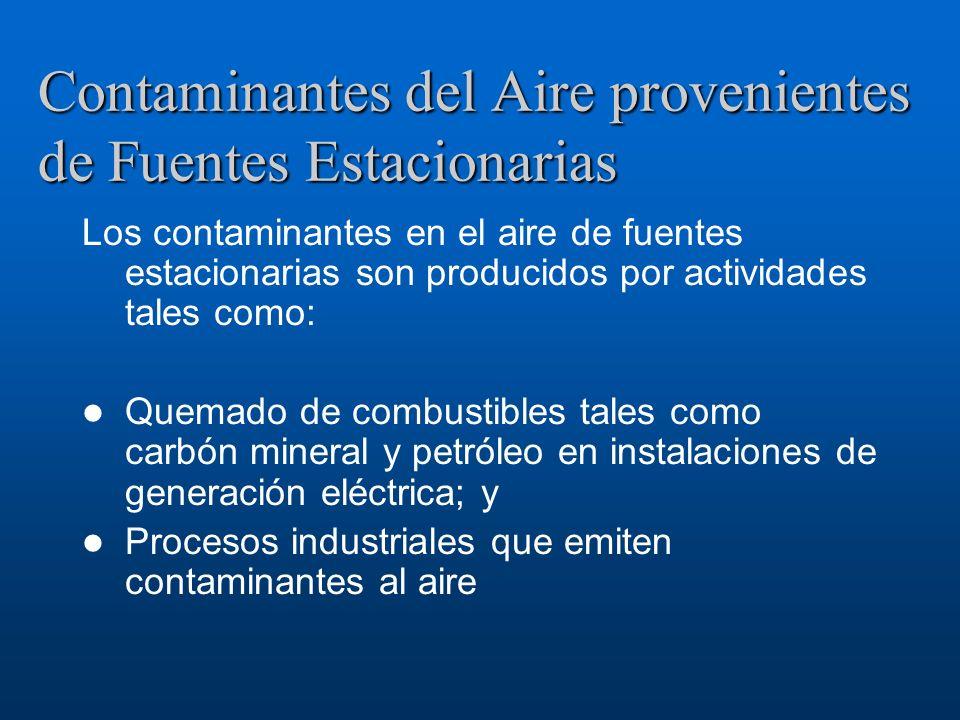Contaminantes del Aire provenientes de Fuentes Estacionarias