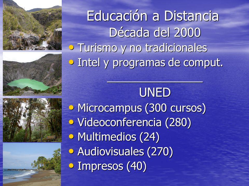 Educación a Distancia Década del 2000 UNED Turismo y no tradicionales