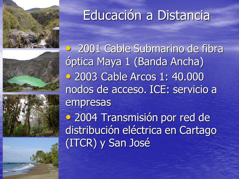 Educación a Distancia 2001 Cable Submarino de fibra óptica Maya 1 (Banda Ancha) 2003 Cable Arcos 1: 40.000 nodos de acceso. ICE: servicio a empresas.