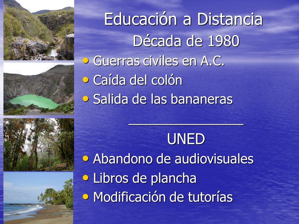 Educación a Distancia Década de 1980 UNED Guerras civiles en A.C.