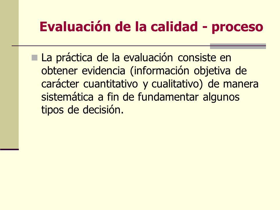 Evaluación de la calidad - proceso