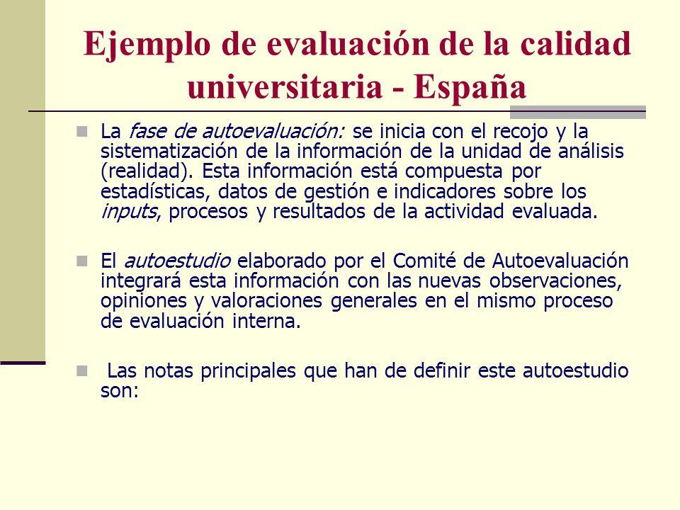 Ejemplo de evaluación de la calidad universitaria - España