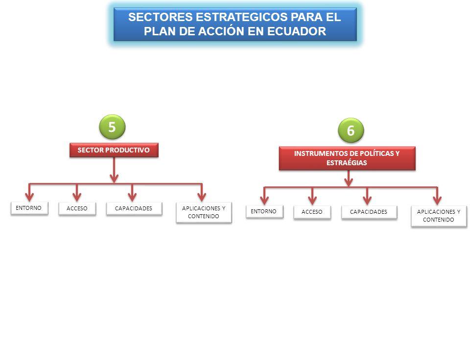5 6 SECTORES ESTRATEGICOS PARA EL PLAN DE ACCIÓN EN ECUADOR