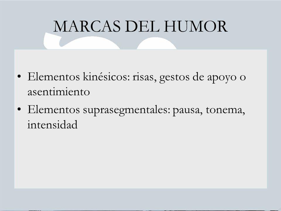 MARCAS DEL HUMOR Elementos kinésicos: risas, gestos de apoyo o asentimiento.
