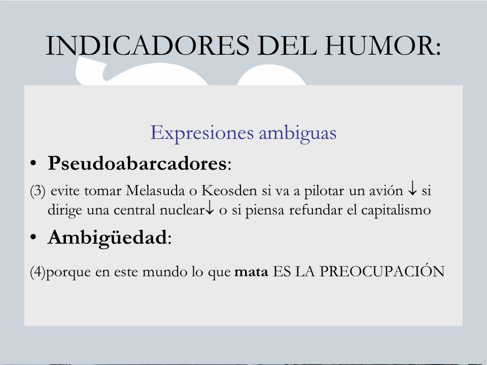 INDICADORES DEL HUMOR: