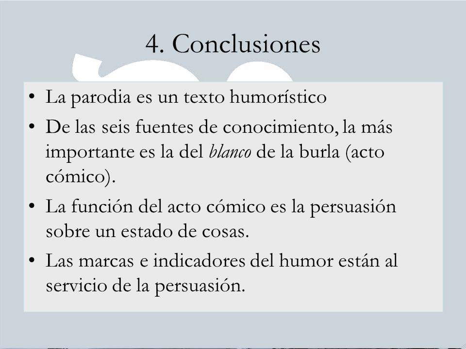4. Conclusiones La parodia es un texto humorístico