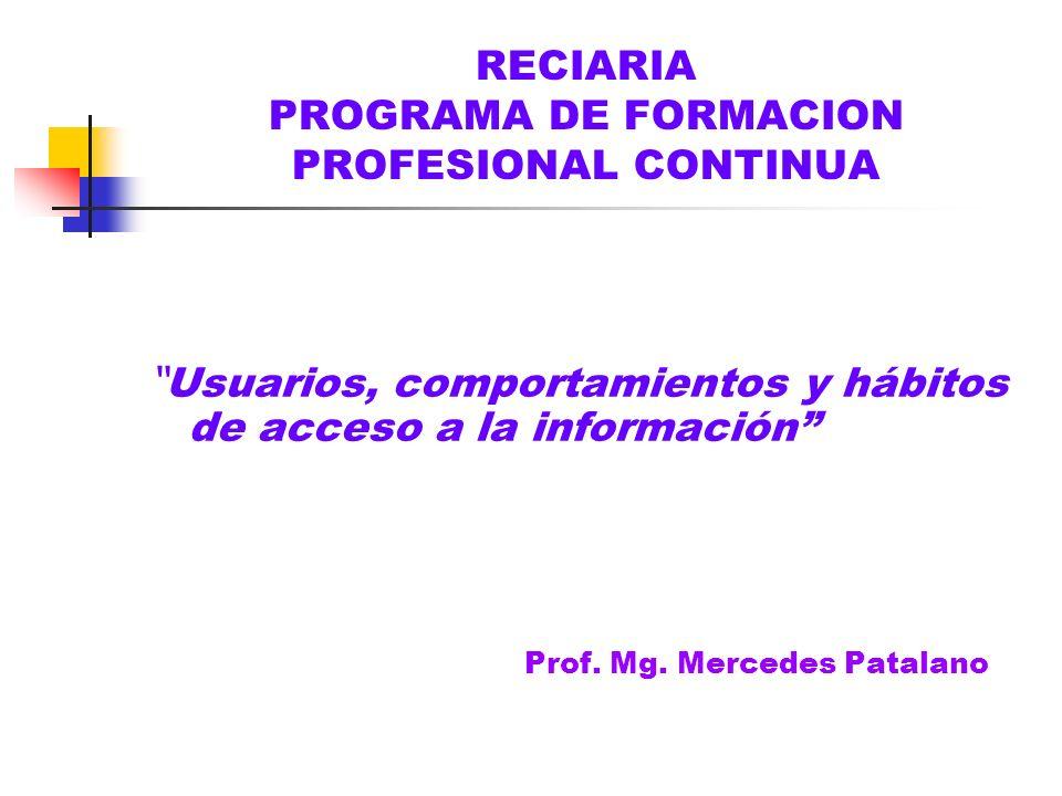 RECIARIA PROGRAMA DE FORMACION PROFESIONAL CONTINUA