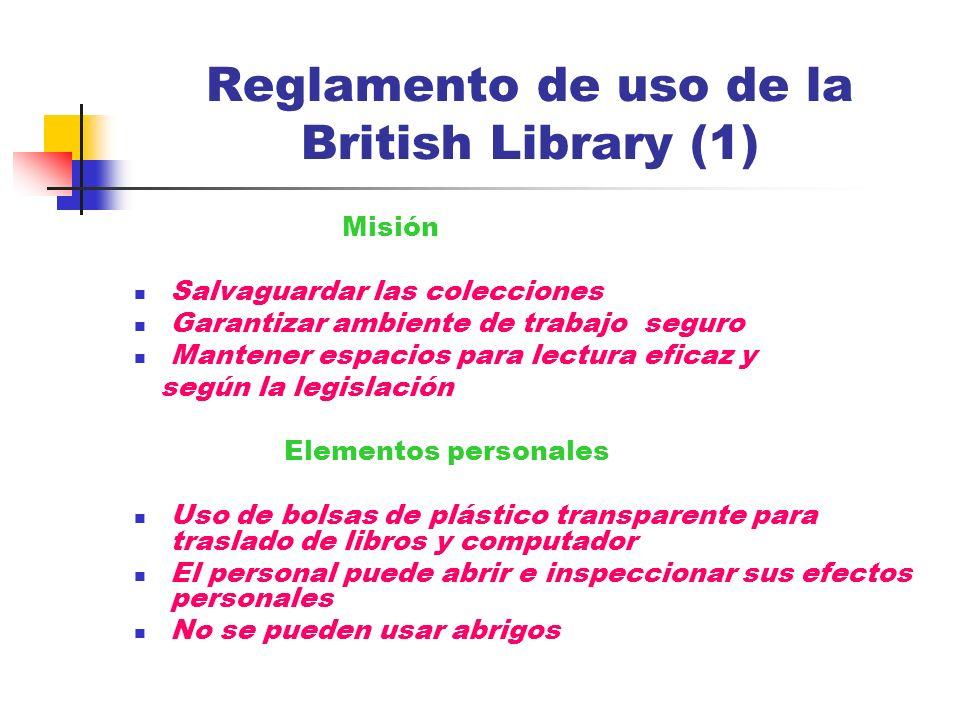 Reglamento de uso de la British Library (1)