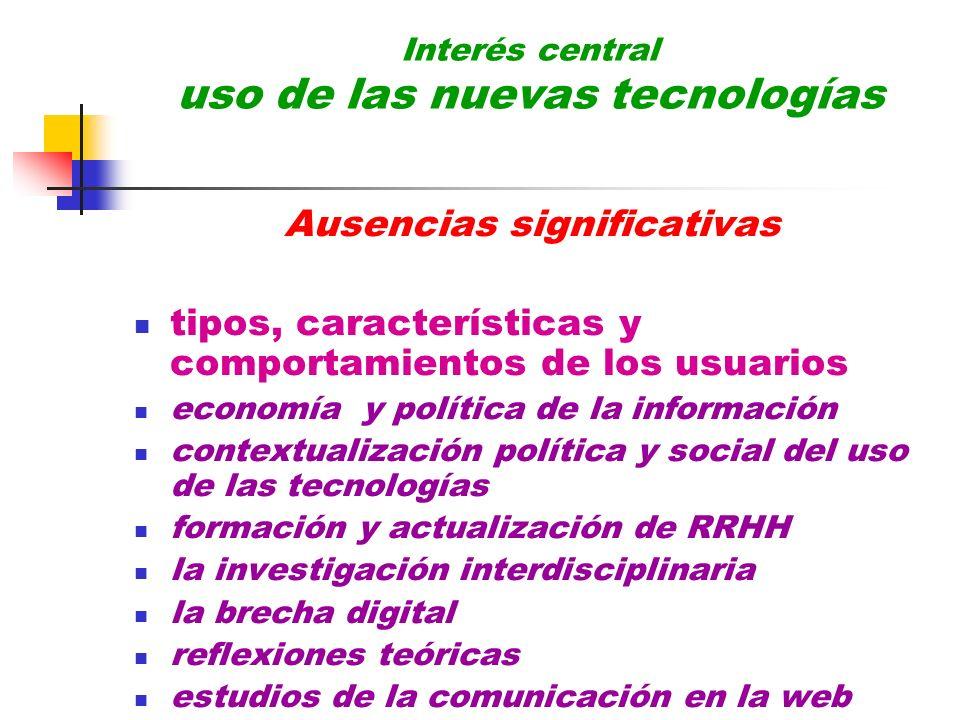 Interés central uso de las nuevas tecnologías