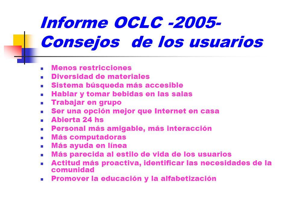 Informe OCLC -2005- Consejos de los usuarios