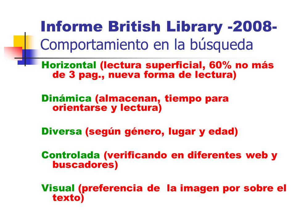 Informe British Library -2008- Comportamiento en la búsqueda