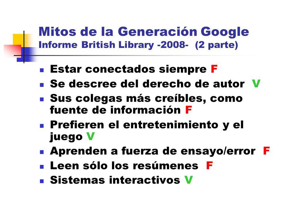Mitos de la Generación Google Informe British Library -2008- (2 parte)
