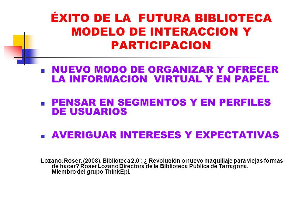 ÉXITO DE LA FUTURA BIBLIOTECA MODELO DE INTERACCION Y PARTICIPACION