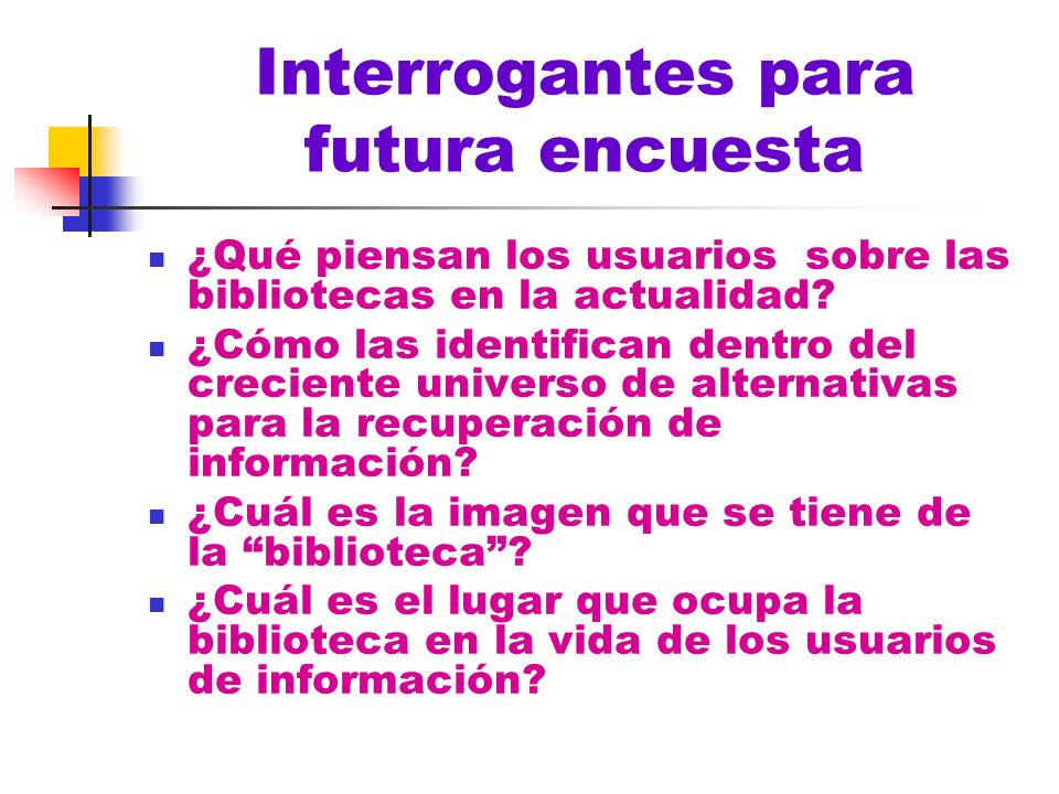 Interrogantes para futura encuesta