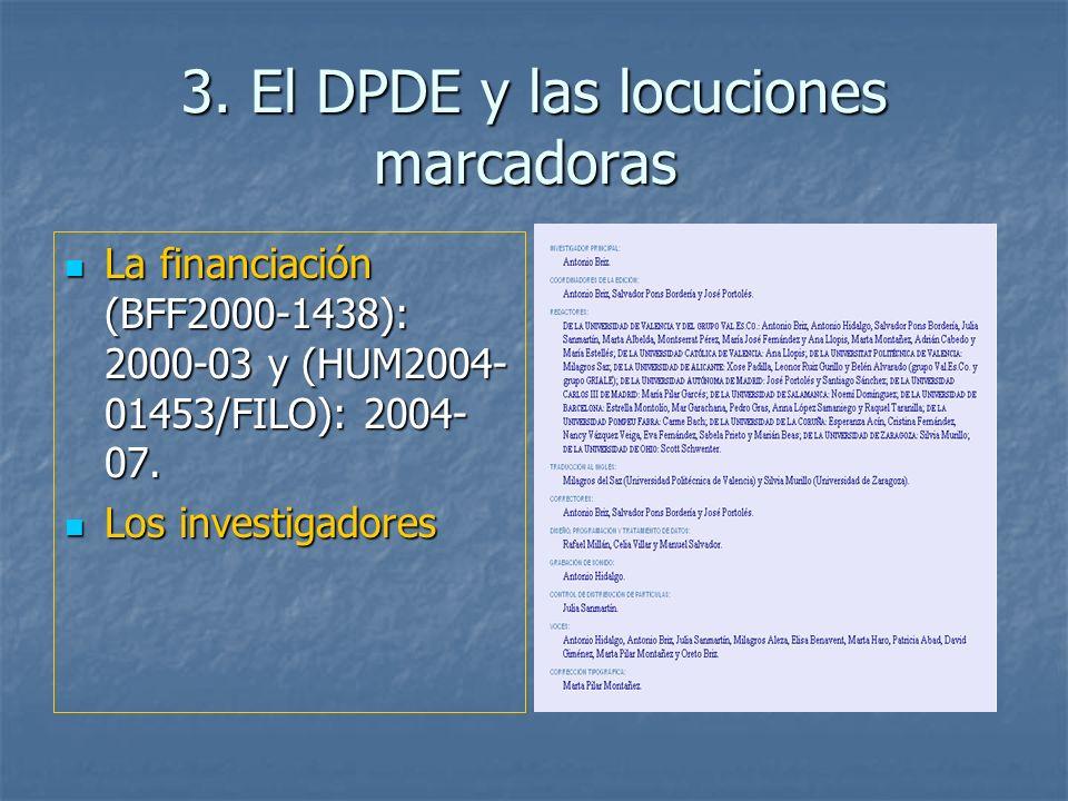 3. El DPDE y las locuciones marcadoras