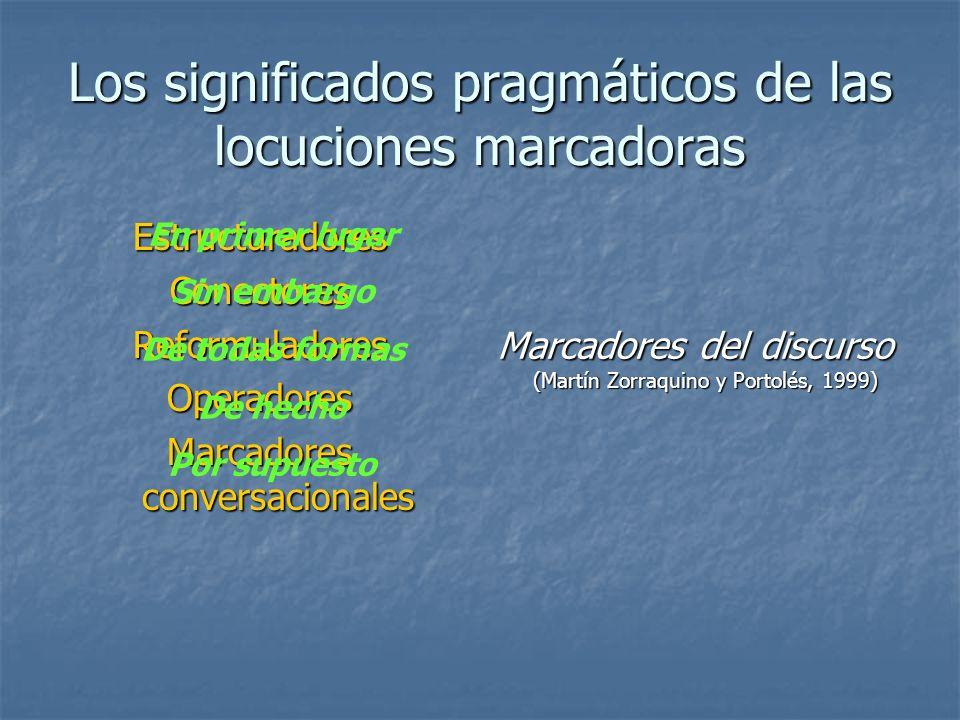 Los significados pragmáticos de las locuciones marcadoras