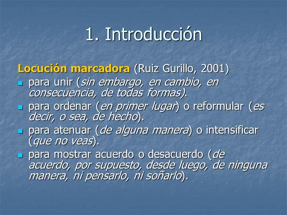 1. Introducción Locución marcadora (Ruiz Gurillo, 2001)
