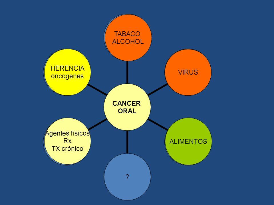 TABACO ALCOHOL HERENCIA oncogenes VIRUS Agentes físicos Rx TX crónico ALIMENTOS