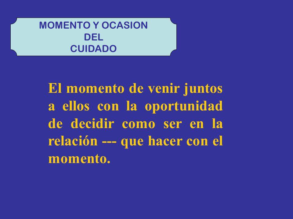 MOMENTO Y OCASION DEL. CUIDADO.