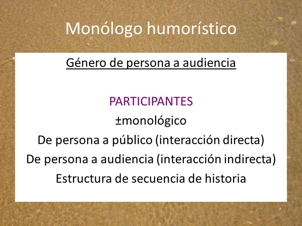 Monólogo humorístico Género de persona a audiencia PARTICIPANTES