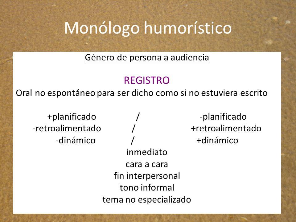 Monólogo humorístico REGISTRO Género de persona a audiencia