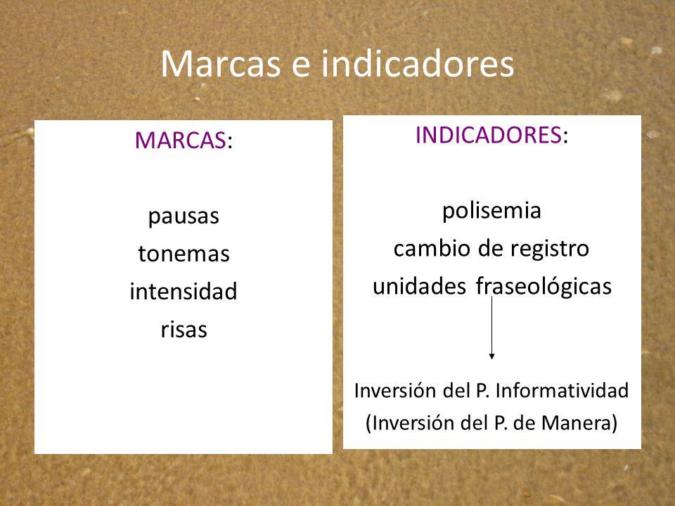 Marcas e indicadores INDICADORES: