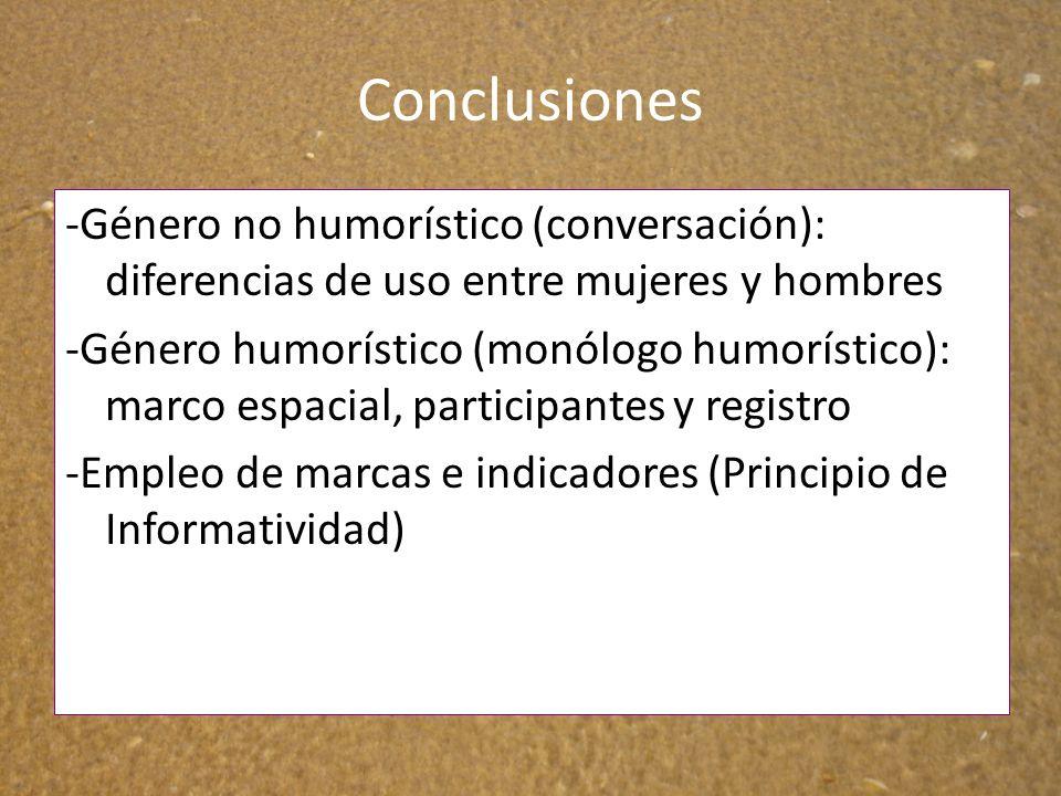 Conclusiones -Género no humorístico (conversación): diferencias de uso entre mujeres y hombres.