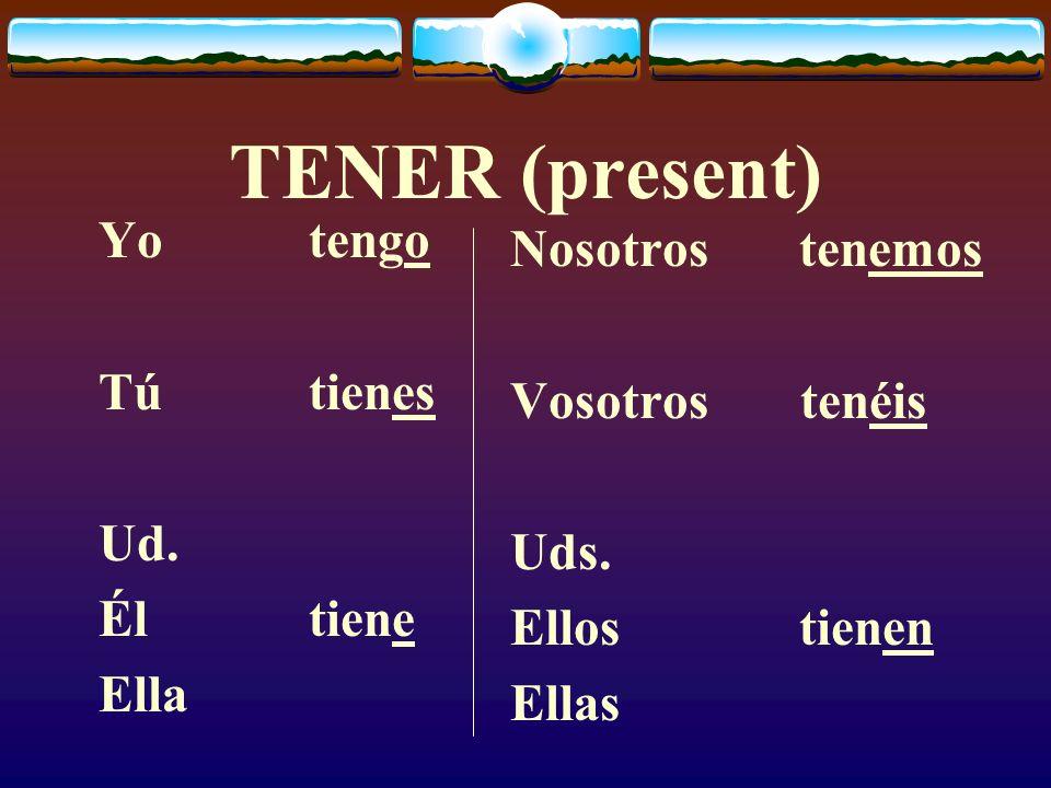 TENER (present) Yo tengo Nosotros tenemos Tú tienes Vosotros tenéis