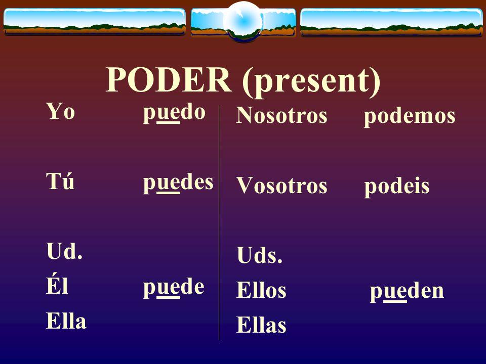 PODER (present) Yo puedo Nosotros podemos Tú puedes Vosotros podeis