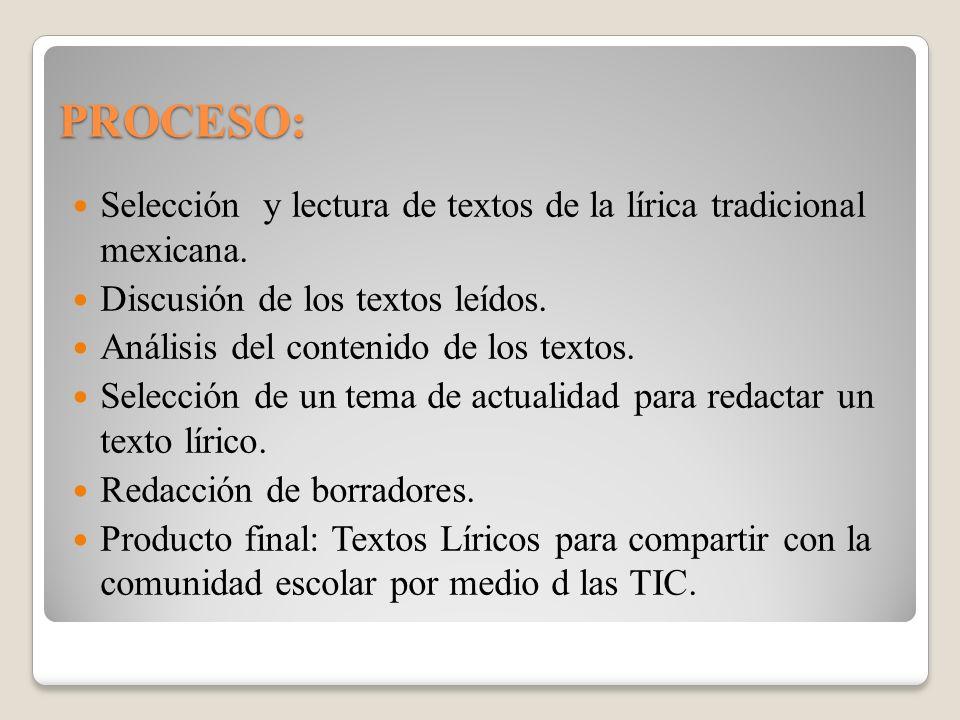 PROCESO: Selección y lectura de textos de la lírica tradicional mexicana. Discusión de los textos leídos.
