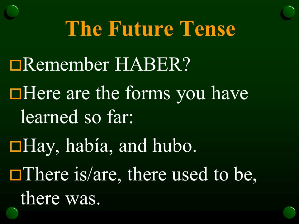 The Future Tense Remember HABER