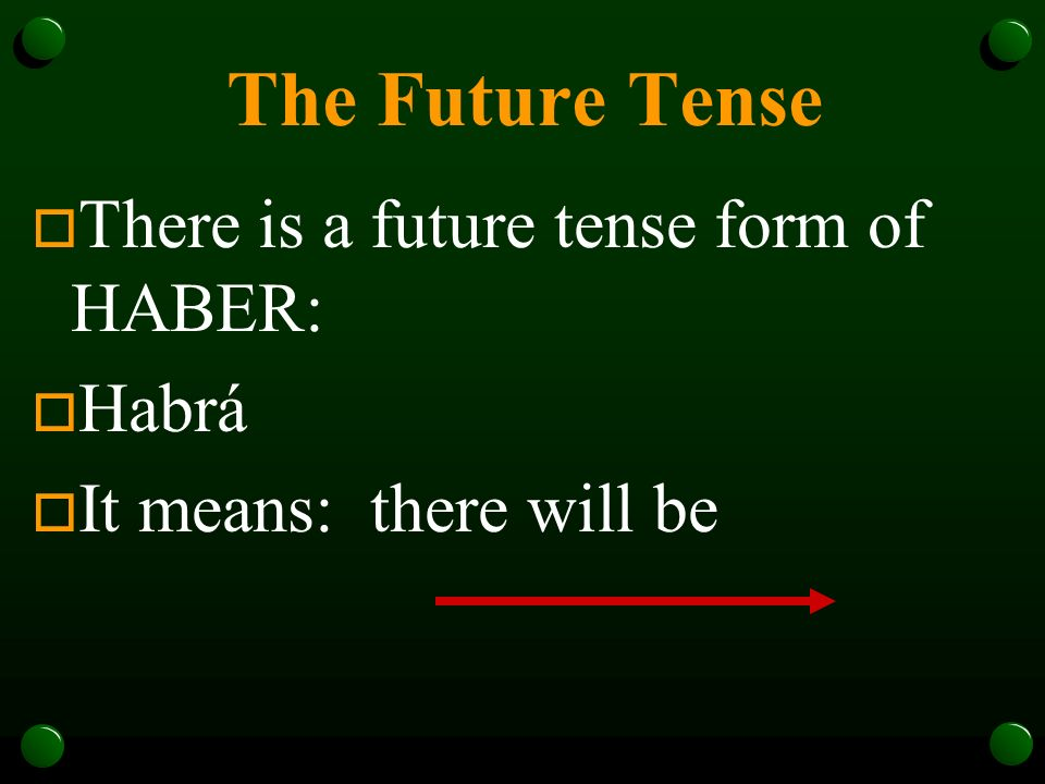 The Future Tense There is a future tense form of HABER: Habrá